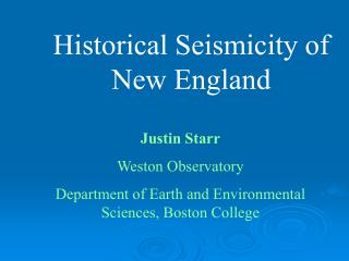 Historical Seismicity of New England