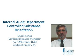 Internal Audit Department Controlled Substance Orientation