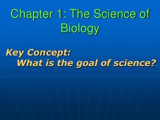 Chapter 1: The Science of Biology