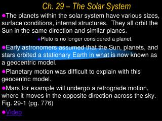 Ch. 29 – The Solar System