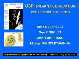 U3P  SOLAR SAIL  EDUCATION WITH FRENCH STUDENTS