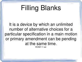 Filling Blanks