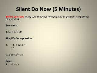 Silent Do Now (5 Minutes)