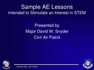 Sample AE Lessons Intended to Stimulate an Interest in STEM