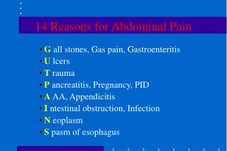 14 Reasons for Abdominal Pain