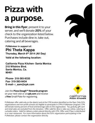 FUNdraiser in support of: Phi Theta Kappa Thursday, March 6 th  2014 (All Day)