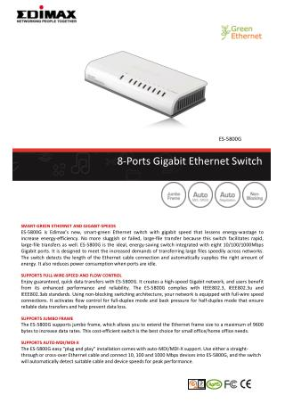 8-Ports Gigabit Ethernet Switch