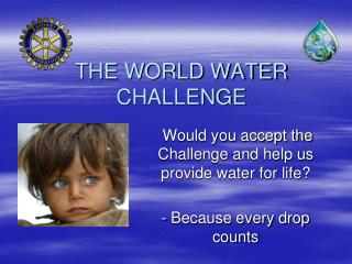 THE WORLD WATER CHALLENGE