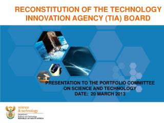 RECONSTITUTION OF THE TECHNOLOGY INNOVATION AGENCY (TIA) BOARD