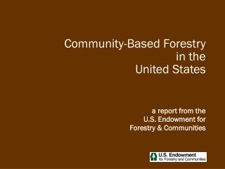 Community-Based Forestry in the United States