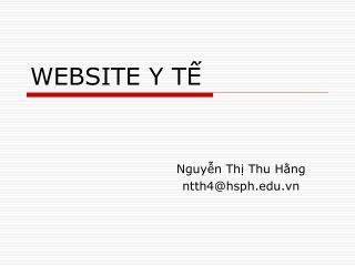WEBSITE Y TẾ