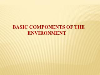 BASIC COMPONENTS OF THE ENVIRONMENT