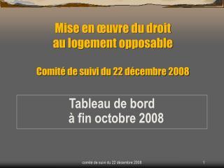 Mise en œuvre du droit au logement opposable Comité de suivi du 22 décembre 2008
