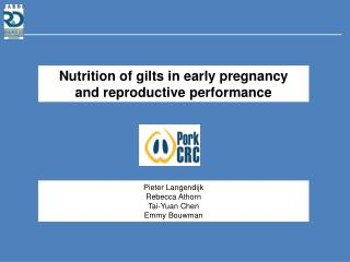 Nutrition of gilts in early pregnancy and reproductive performance