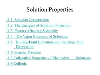 Solution Properties