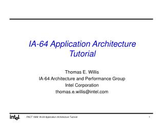 IA-64 Application Architecture Tutorial
