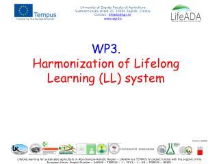 WP3. Harmonization of Lifelong Learning (LL) system