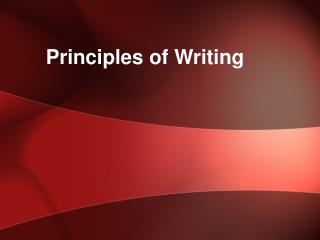 Principles of Writing