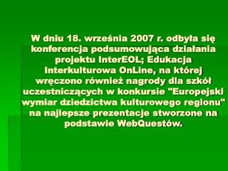 Konferencja podsumowujaca projekt InterEol.