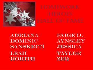Homework Heroes Hall of Fame
