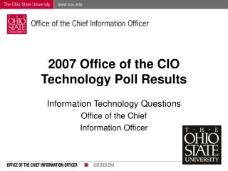 2007 Office of the CIO Technology Poll Results