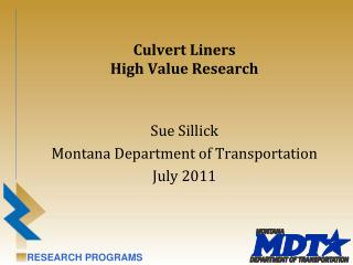 Culvert Liners High Value Research