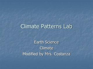 Climate Patterns Lab