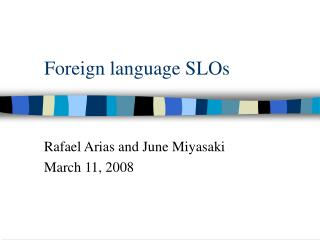 Foreign language SLOs