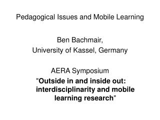 Pedagogical Issues and Mobile Learning