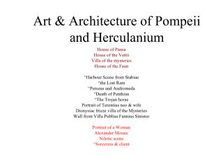 Art & Architecture of Pompeii and Herculanium