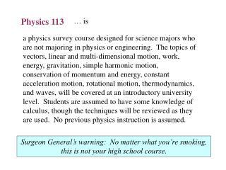 Physics 113