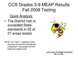 CCS Grades 3-9 MEAP Results Fall 2008 Testing