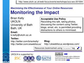 Maximising the Effectiveness of Your Online Resources : Monitoring the Impact