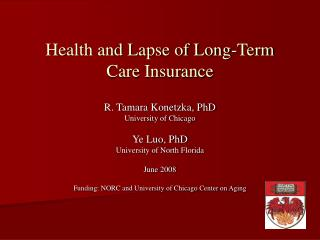 Health and Lapse of Long-Term Care Insurance