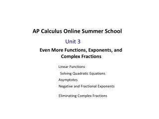 AP Calculus Online Summer School