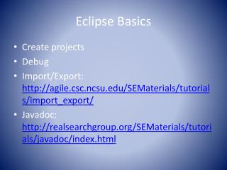 Eclipse Basics