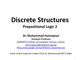 Discrete Structures Prepositional Logic 2