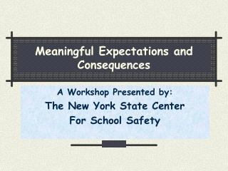Meaningful Expectations and Consequences