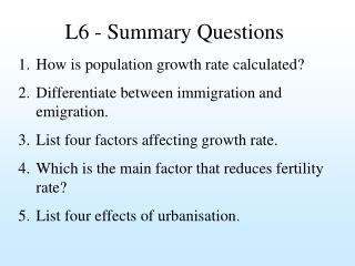 L6 - Summary Questions