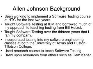 Allen Johnson Background