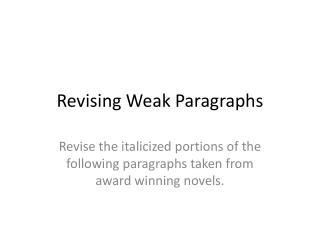 Revising Weak Paragraphs