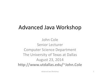 Advanced Java Workshop