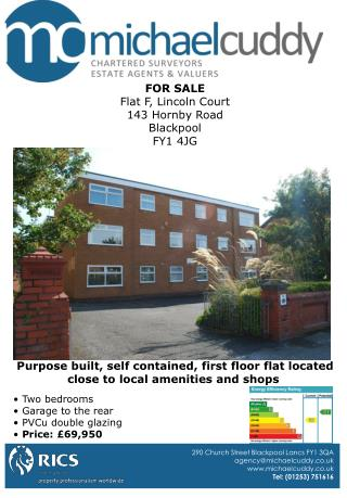 FOR SALE Flat F, Lincoln Court 143 Hornby Road Blackpool FY1 4JG