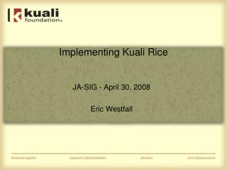 Implementing Kuali Rice