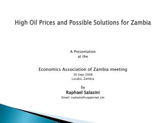 High Oil Prices and Possible Solutions for Zambia