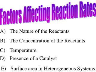 A) 	The Nature of the Reactants