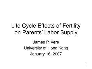 Life Cycle Effects of Fertility on Parents' Labor Supply