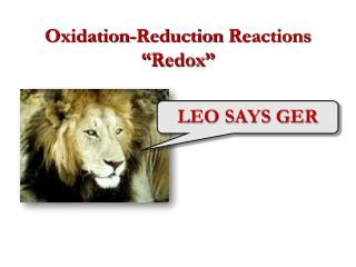"""Oxidation-Reduction Reactions """" Redox """""""