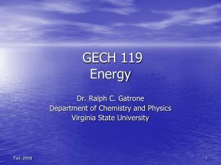GECH 119 Energy