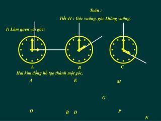 Tiết 41 : Góc vuông, góc không vuông.